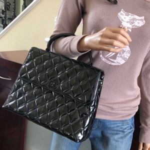 CHANEL Patent Leather CC Kelly Flap Handle Bag